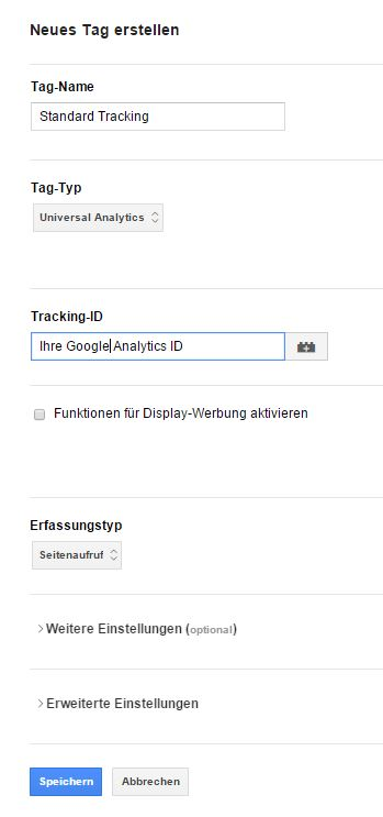 So legen Sie für den Google Tag Manager einen Container an.